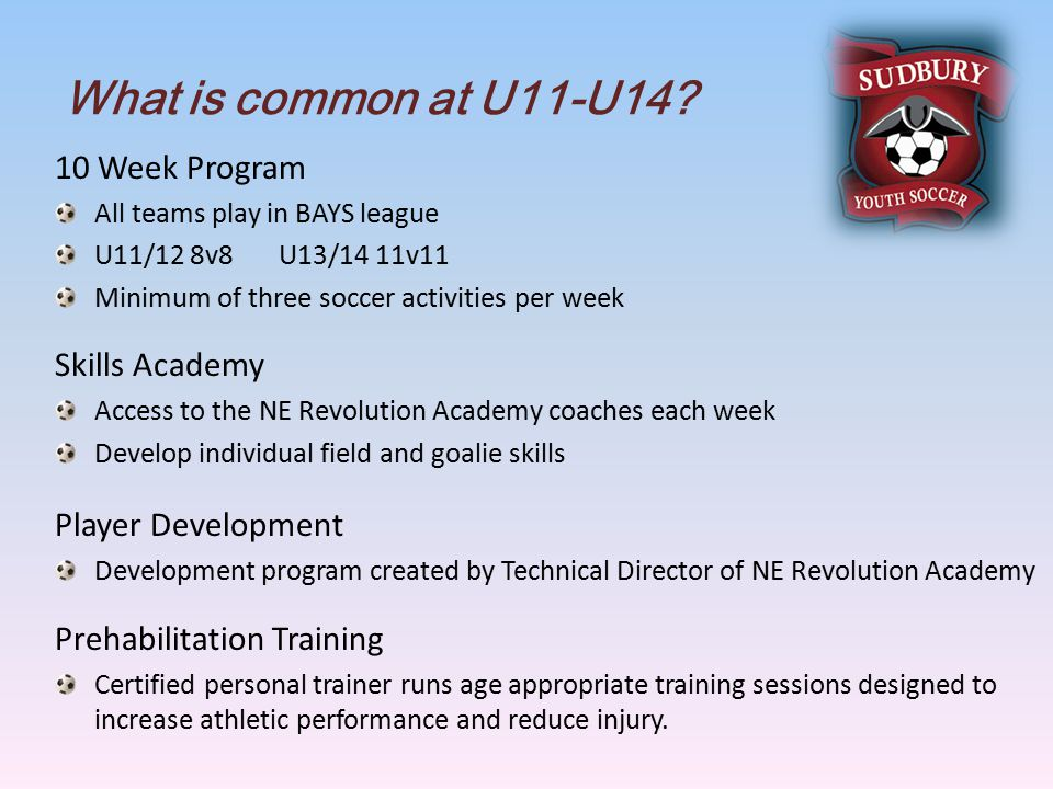 What is common at U11-U14.