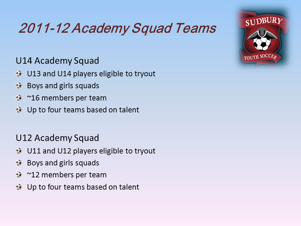 Academy Squad Teams U14 Academy Squad U13 and U14 players eligible to tryout Boys and girls squads ~16 members per team Up to four teams based on talent U12 Academy Squad U11 and U12 players eligible to tryout Boys and girls squads ~12 members per team Up to four teams based on talent