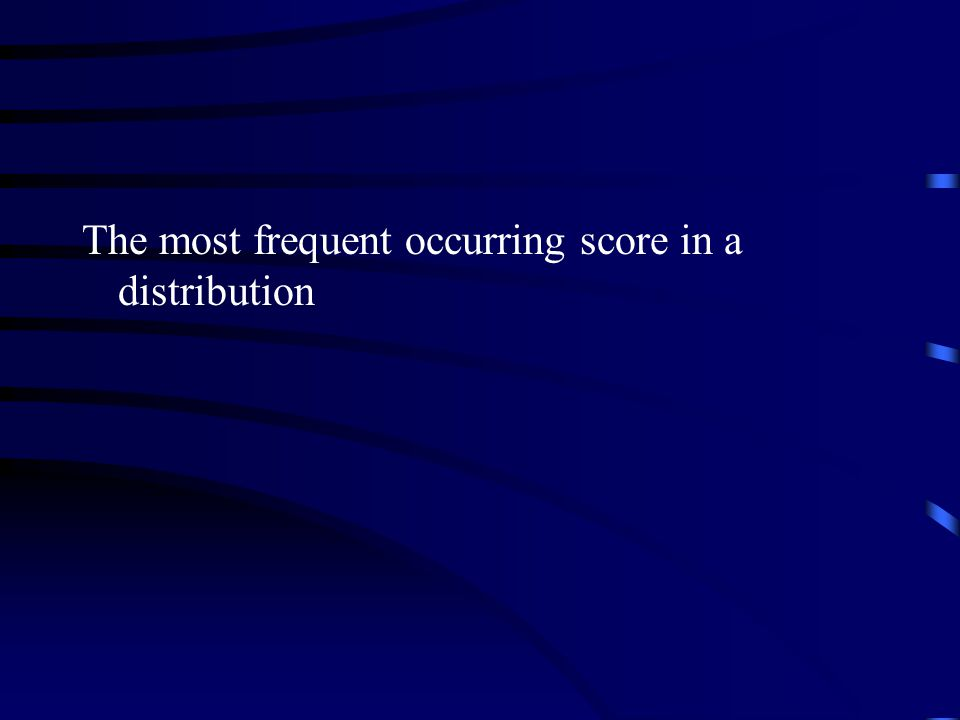 The most frequent occurring score in a distribution