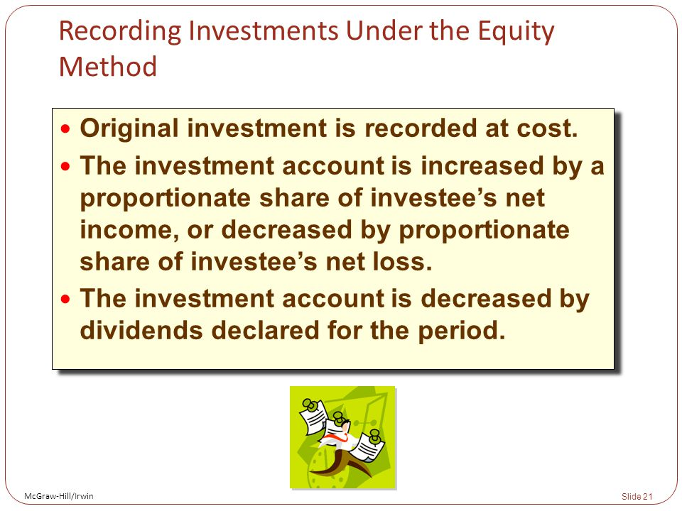 McGraw-Hill/Irwin Slide 21 Recording Investments Under the Equity Method Original investment is recorded at cost.