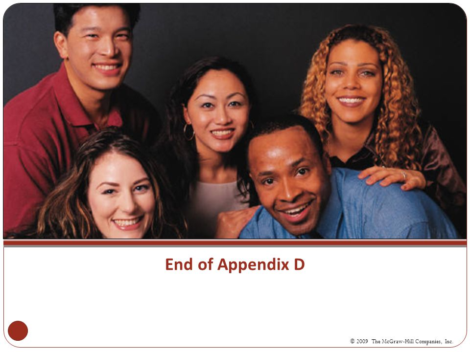 End of Appendix D © 2009 The McGraw-Hill Companies, Inc.