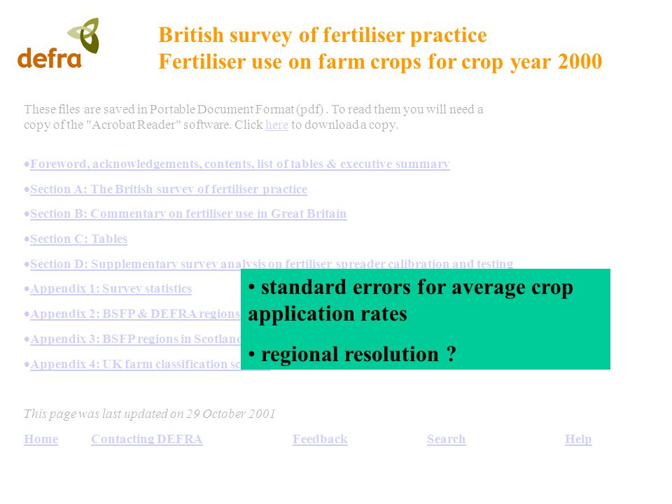 British survey of fertiliser practice Fertiliser use on farm crops for crop year 2000 These files are saved in Portable Document Format (pdf).
