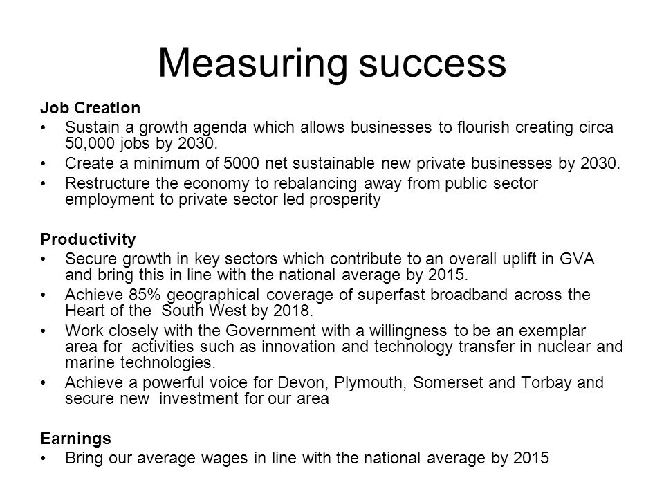 Measuring success Job Creation Sustain a growth agenda which allows businesses to flourish creating circa 50,000 jobs by 2030.