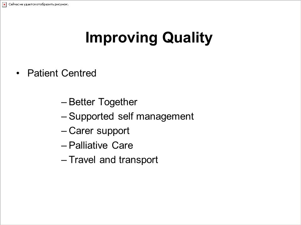 Improving Quality Patient Centred –Better Together –Supported self management –Carer support –Palliative Care –Travel and transport