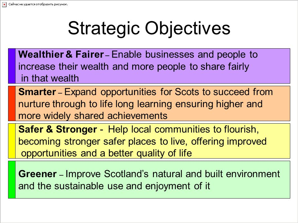 Strategic Objectives Wealthier & Fairer – Enable businesses and people to increase their wealth and more people to share fairly in that wealth Smarter – Expand opportunities for Scots to succeed from nurture through to life long learning ensuring higher and more widely shared achievements Safer & Stronger - Help local communities to flourish, becoming stronger safer places to live, offering improved opportunities and a better quality of life Greener – Improve Scotland's natural and built environment and the sustainable use and enjoyment of it