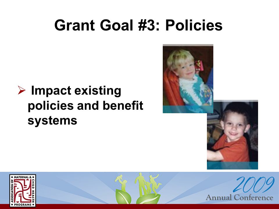  Impact existing policies and benefit systems Grant Goal #3: Policies