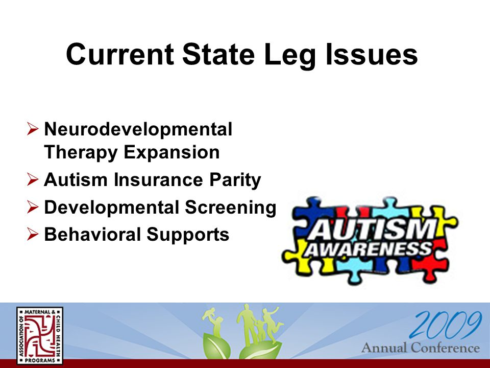 Current State Leg Issues  Neurodevelopmental Therapy Expansion  Autism Insurance Parity  Developmental Screening  Behavioral Supports