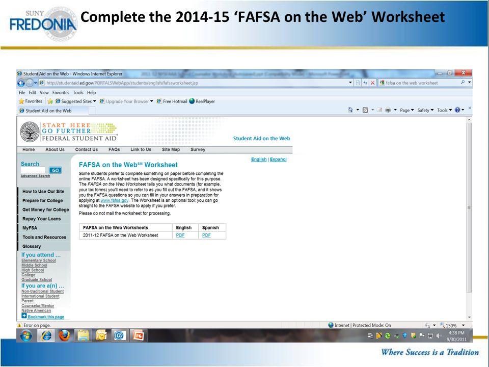 Orchard park hs financial aid presentation daniel m tramuta 4 complete the 2014 15 fafsa on the web worksheet ibookread Read Online