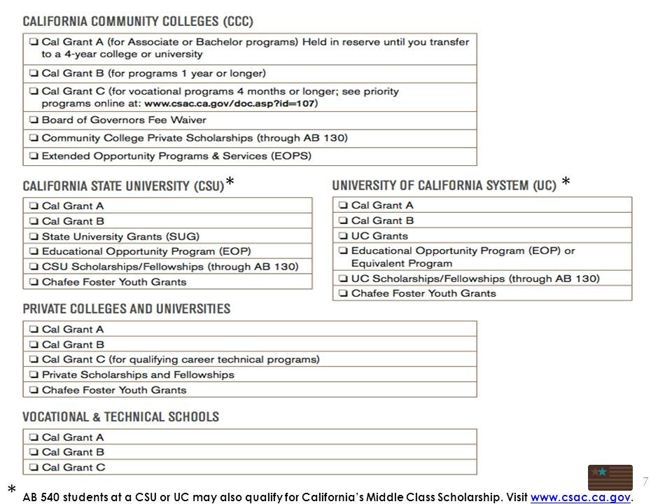 7 ** * AB 540 students at a CSU or UC may also qualify for California's Middle Class Scholarship.