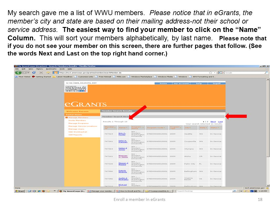 My search gave me a list of WWU members.