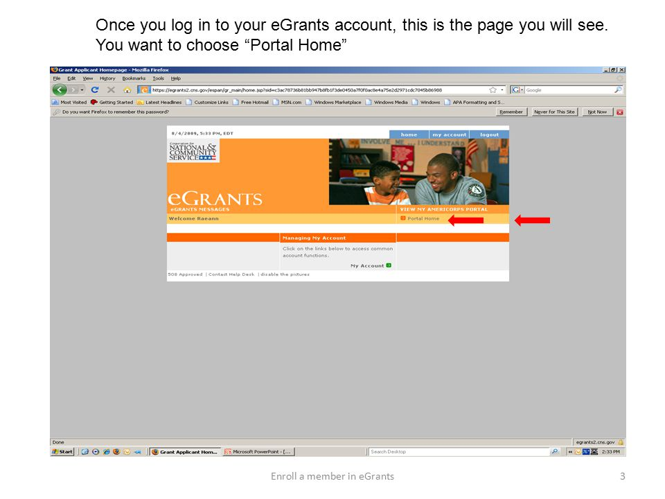 Once you log in to your eGrants account, this is the page you will see.