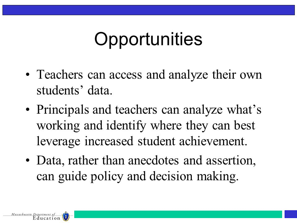 Opportunities Teachers can access and analyze their own students' data.