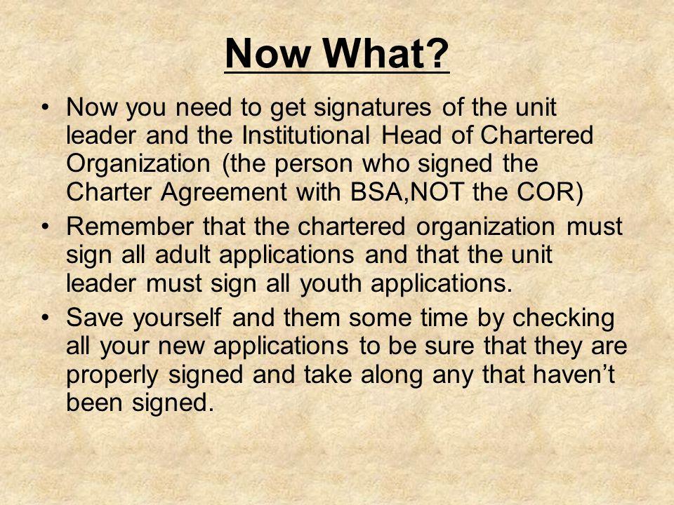 2012 Charter Renewal Process Select Renewal Volunteer An Adult