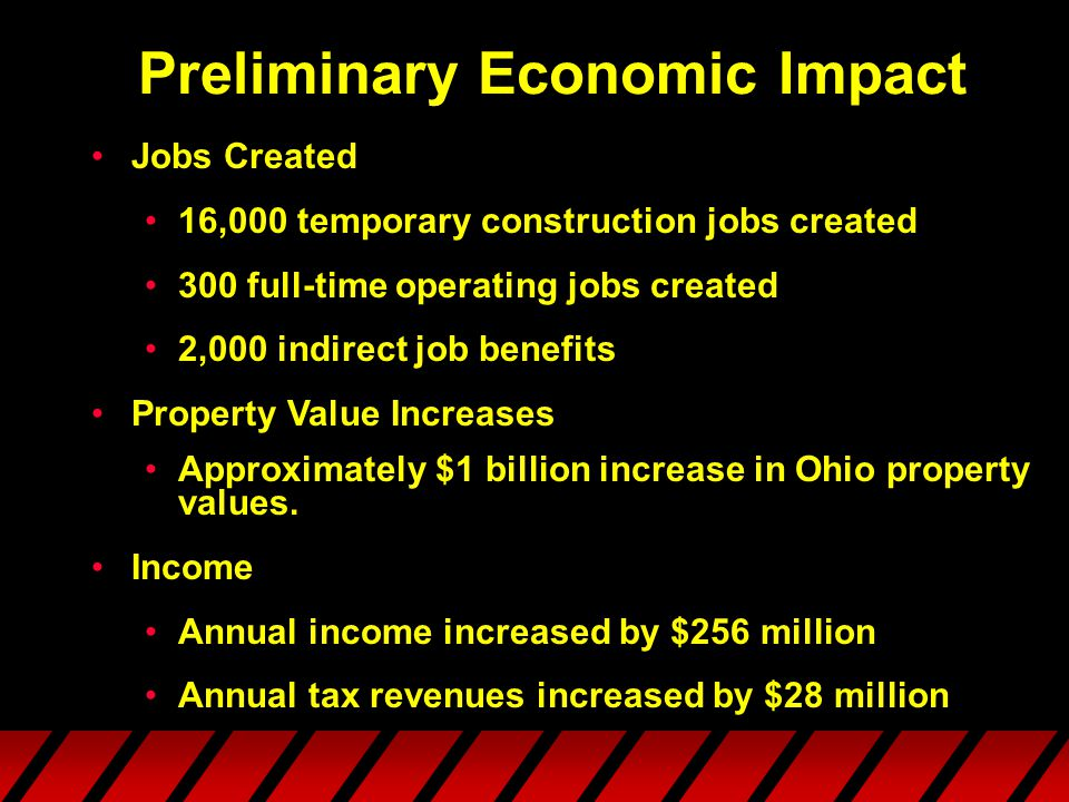 Preliminary Economic Impact Jobs Created 16,000 temporary construction jobs created 300 full-time operating jobs created 2,000 indirect job benefits Property Value Increases Approximately $1 billion increase in Ohio property values.