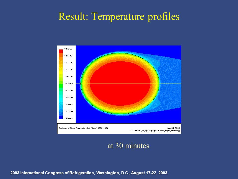 2003 International Congress of Refrigeration, Washington, D.C., August 17-22, 2003 Result: Temperature profiles at 30 minutes