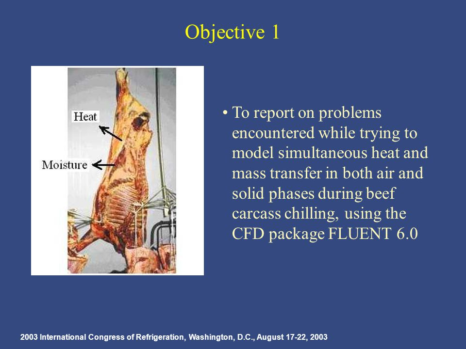 2003 International Congress of Refrigeration, Washington, D.C., August 17-22, 2003 Objective 1 To report on problems encountered while trying to model simultaneous heat and mass transfer in both air and solid phases during beef carcass chilling, using the CFD package FLUENT 6.0