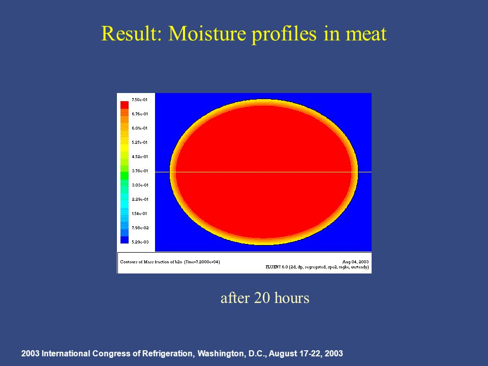 2003 International Congress of Refrigeration, Washington, D.C., August 17-22, 2003 Result: Moisture profiles in meat after 20 hours