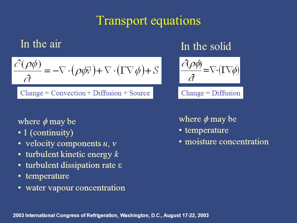 2003 International Congress of Refrigeration, Washington, D.C., August 17-22, 2003 Transport equations In the air where  may be 1 (continuity) velocity components u, v turbulent kinetic energy k turbulent dissipation rate  temperature water vapour concentration Change = Convection + Diffusion + Source In the solid where  may be temperature moisture concentration Change = Diffusion