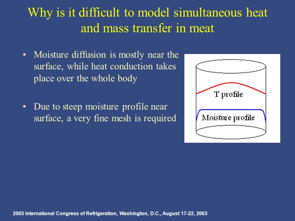 2003 International Congress of Refrigeration, Washington, D.C., August 17-22, 2003 Why is it difficult to model simultaneous heat and mass transfer in meat Moisture diffusion is mostly near the surface, while heat conduction takes place over the whole body Due to steep moisture profile near surface, a very fine mesh is required