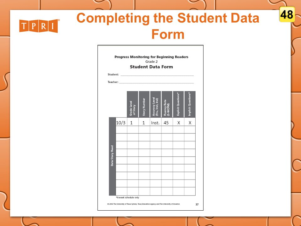 Completing the Student Data Form 10/311Inst.45XX 48