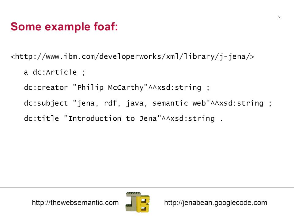 Programming with JenaBean Sources for examples can be Taylor Cowan