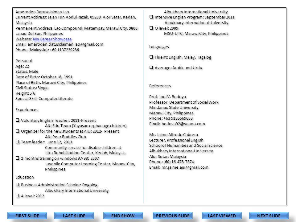 Career Documents Showcase Ameroden Datusolaiman Lao