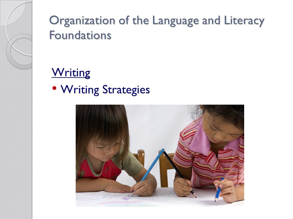 Organization of the Language and Literacy Foundations Writing Writing Strategies