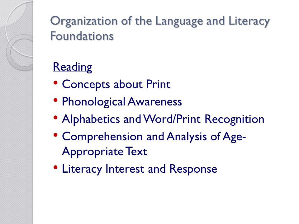 Organization of the Language and Literacy Foundations Reading Concepts about Print Phonological Awareness Alphabetics and Word/Print Recognition Comprehension and Analysis of Age- Appropriate Text Literacy Interest and Response