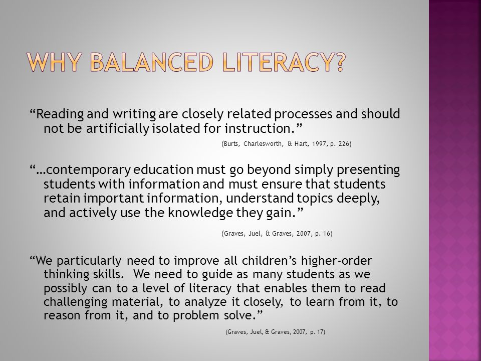 Reading and writing are closely related processes and should not be artificially isolated for instruction. (Burts, Charlesworth, & Hart, 1997, p.