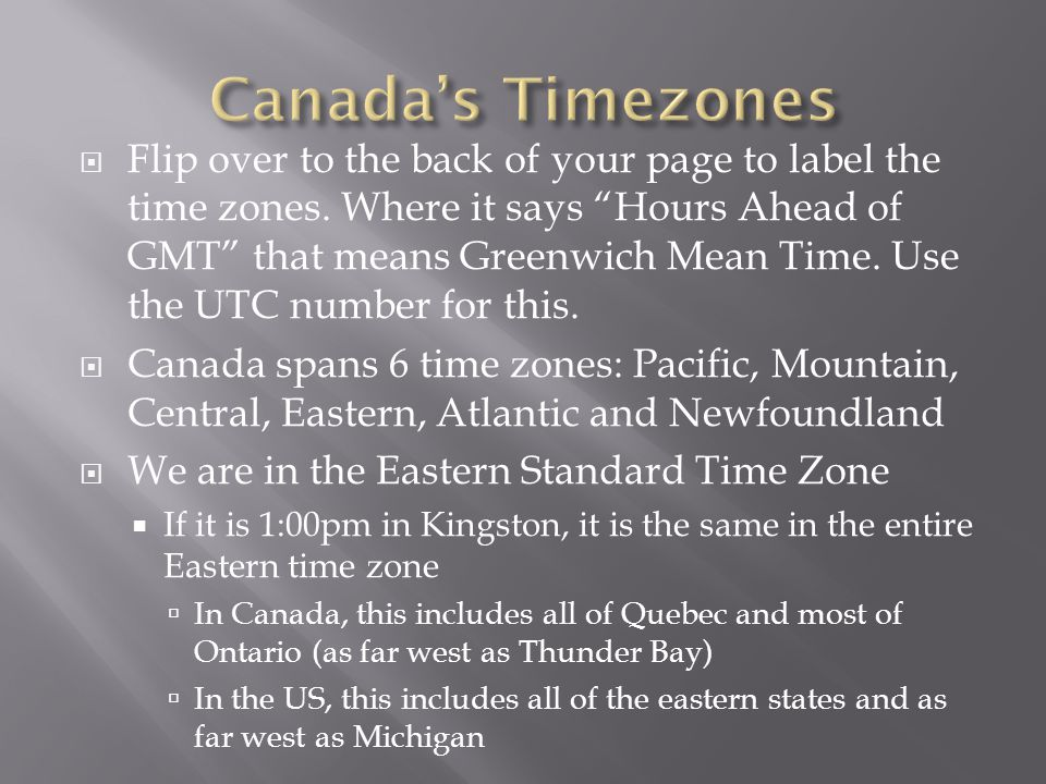  Flip over to the back of your page to label the time zones.