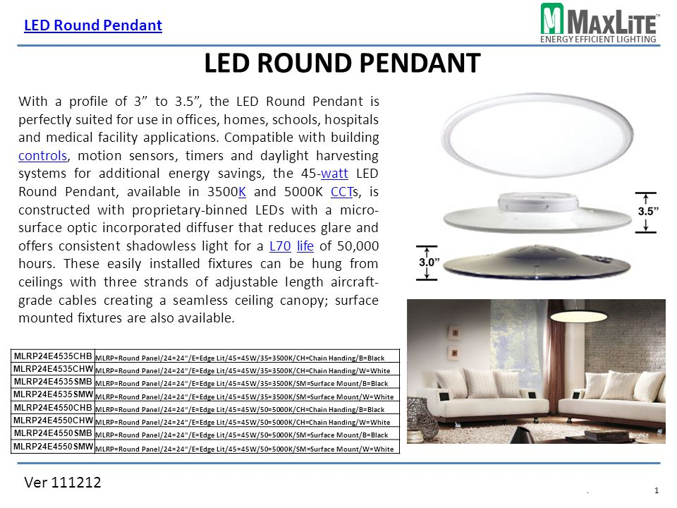 ENERGY EFFICIENT LIGHTING Ver 111212 LED Round Pendant.1.1 LED ROUND PENDANT MLRP24E4535CHB MLRPu003d  sc 1 st  SlidePlayer & ENERGY EFFICIENT LIGHTING Ver LED Round Pendant.1.1 LED ROUND ...