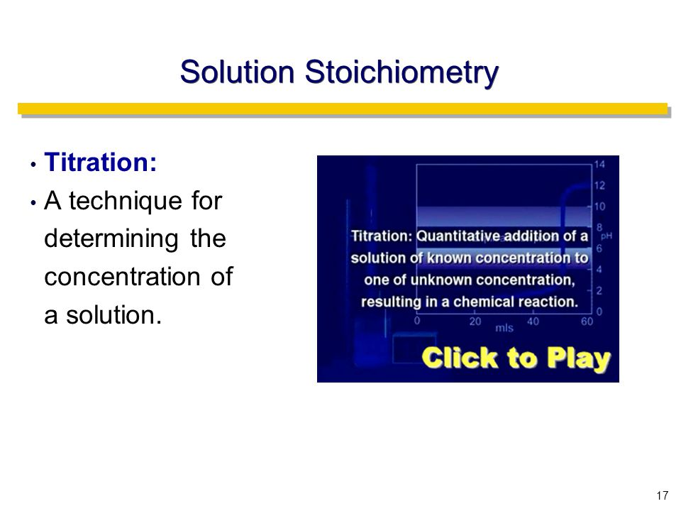 17 Solution Stoichiometry Titration: A technique for determining the concentration of a solution.