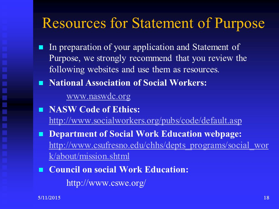 Instructions for Statement of Purpose Write a statement of Purpose. You must address EACH of the areas listed below in order.