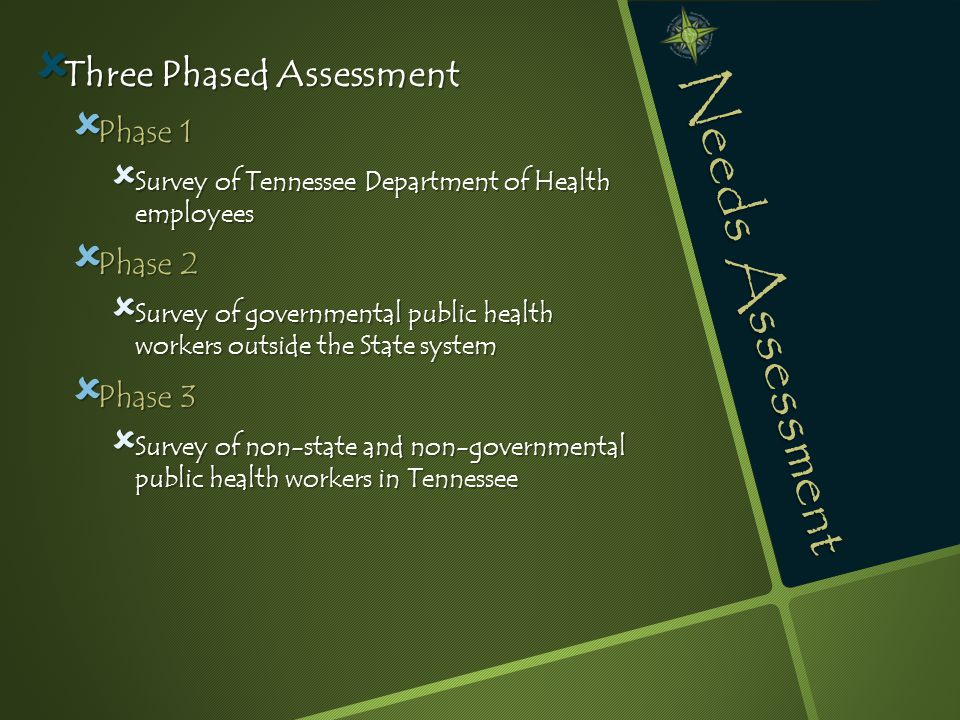 Needs Assessment  Three Phased Assessment  Phase 1  Survey of Tennessee Department of Health employees  Phase 2  Survey of governmental public health workers outside the State system  Phase 3  Survey of non-state and non-governmental public health workers in Tennessee