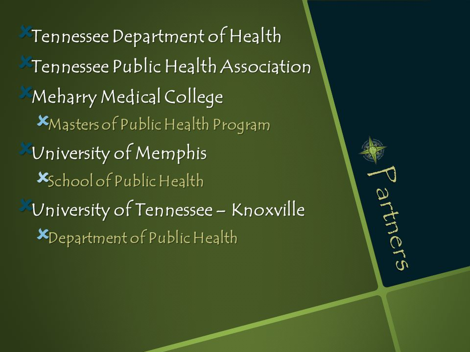 Partners  Tennessee Department of Health  Tennessee Public Health Association  Meharry Medical College  Masters of Public Health Program  University of Memphis  School of Public Health  University of Tennessee – Knoxville  Department of Public Health