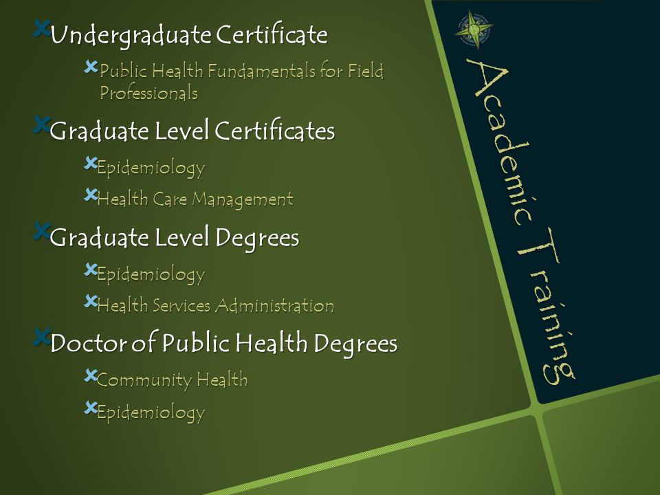 Academic Training  Undergraduate Certificate  Public Health Fundamentals for Field Professionals  Graduate Level Certificates  Epidemiology  Health Care Management  Graduate Level Degrees  Epidemiology  Health Services Administration  Doctor of Public Health Degrees  Community Health  Epidemiology