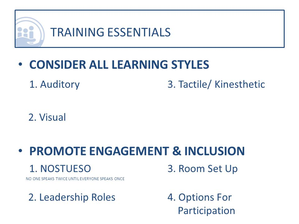 CONSIDER ALL LEARNING STYLES 1. Auditory3. Tactile/ Kinesthetic 2.