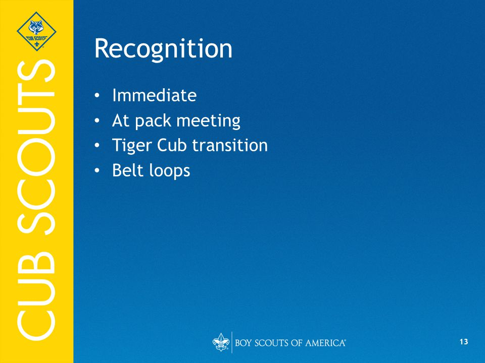 13 Recognition Immediate At pack meeting Tiger Cub transition Belt loops