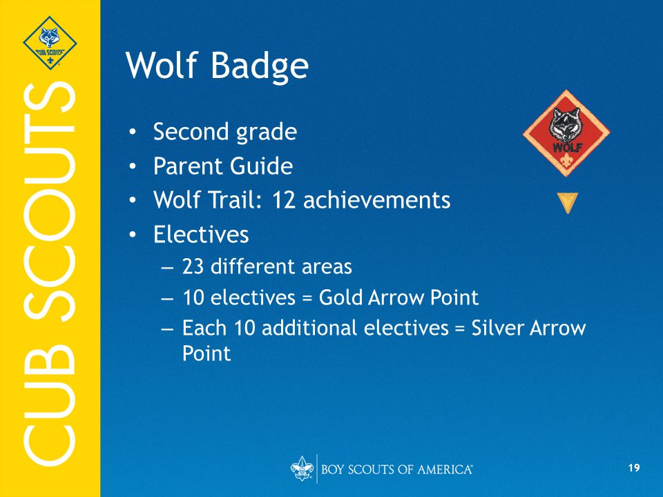 19 Wolf Badge Second grade Parent Guide Wolf Trail: 12 achievements Electives – 23 different areas – 10 electives = Gold Arrow Point – Each 10 additional electives = Silver Arrow Point