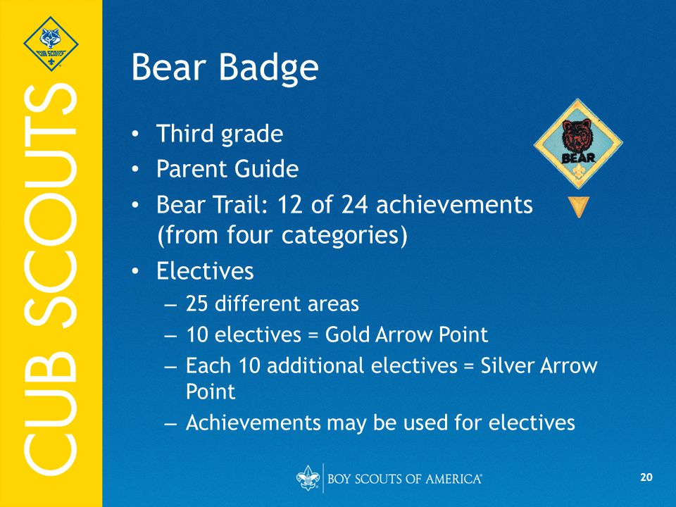 20 Bear Badge Third grade Parent Guide Bear Trail: 12 of 24 achievements (from four categories) Electives – 25 different areas – 10 electives = Gold Arrow Point – Each 10 additional electives = Silver Arrow Point – Achievements may be used for electives