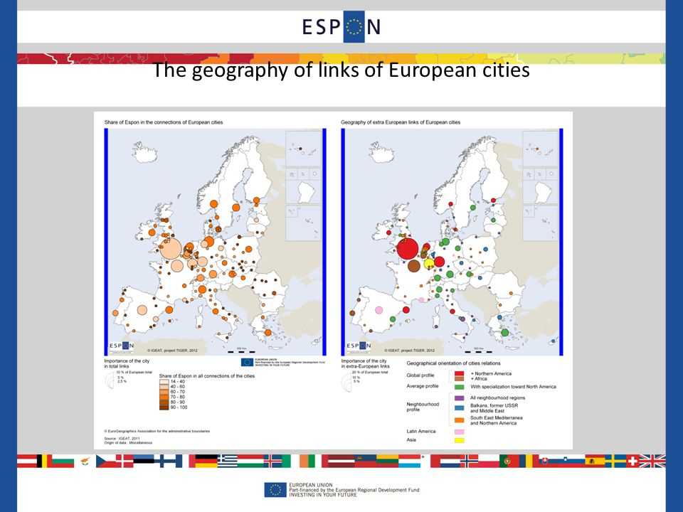 The geography of links of European cities