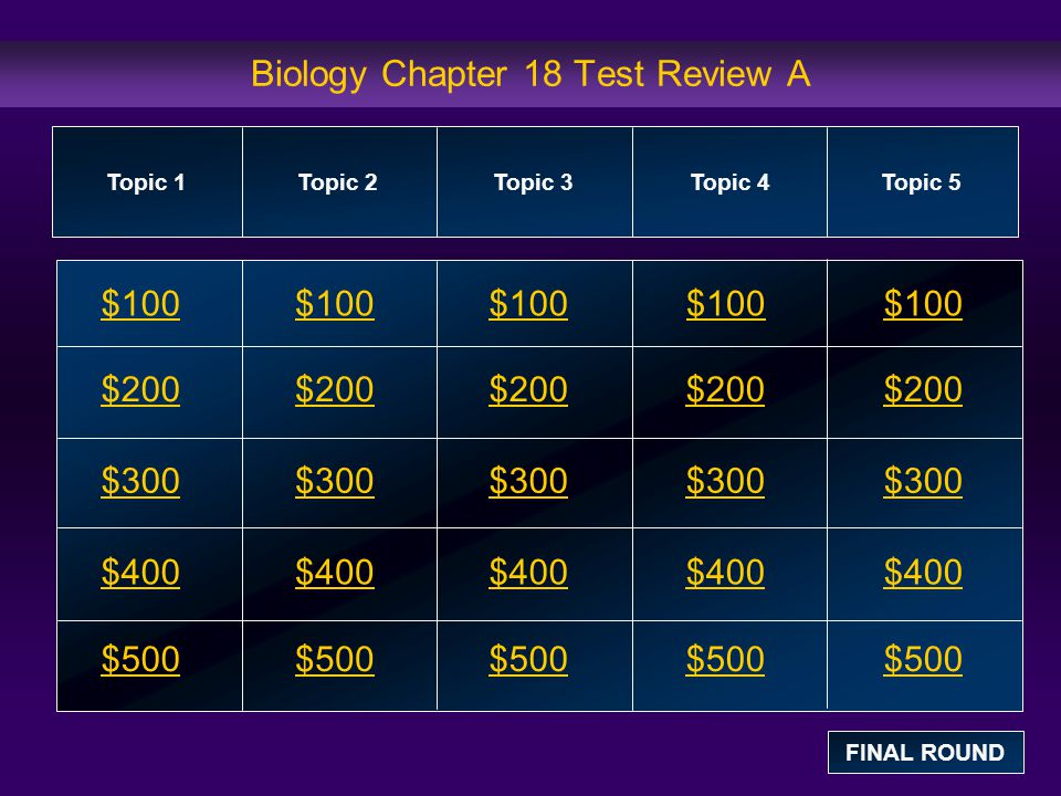 Biology Chapter 18 Test Review A $100 $200 $300 $400 $500 $100$100$100 $200 $300 $400 $500 Topic 1Topic 2Topic 3Topic 4 Topic 5 FINAL ROUND