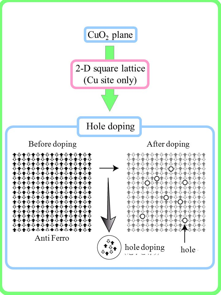 Before dopingAfter doping Anti Ferro hole hole doping Hole doping 2-D square lattice (Cu site only) CuO 2 plane