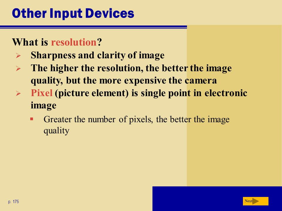 Other Input Devices What is resolution. p.