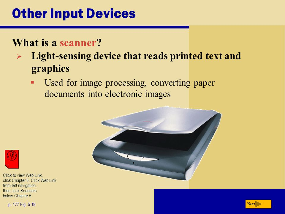 Other Input Devices What is a scanner. p. 177 Fig.