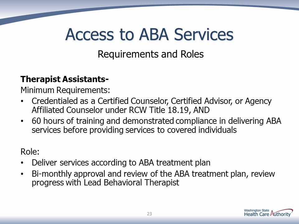 autism spectrum disorder: applied behavior analysis (aba) services ...