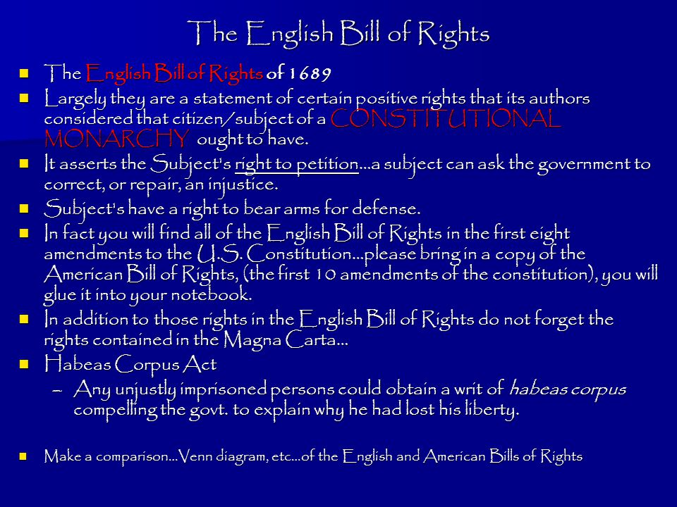Revolutions green family unit two we will be looking at three the english bill of rights the english bill of rights of 1689 the english bill of ccuart Images