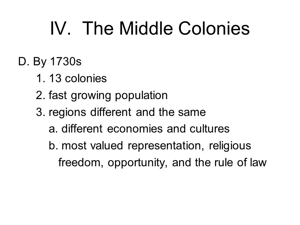 IV. The Middle Colonies D. By 1730s colonies 2.