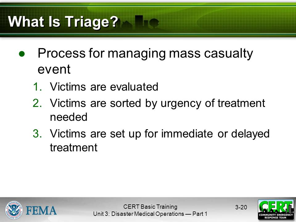 CERT Basic Training Unit 3: Disaster Medical Operations — Part What Is Triage.