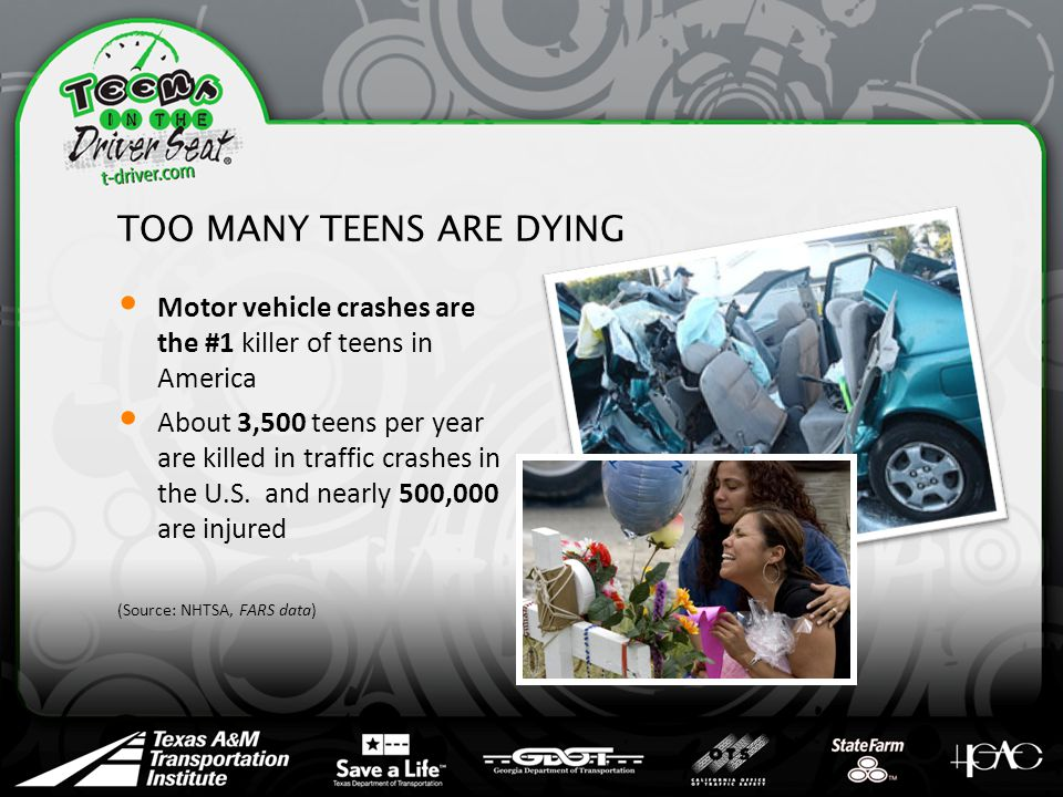 TOO MANY TEENS ARE DYING Motor vehicle crashes are the #1 killer of teens in America About 3,500 teens per year are killed in traffic crashes in the U.S.